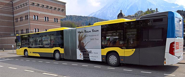 Bus-Werbung Hair Team Thun